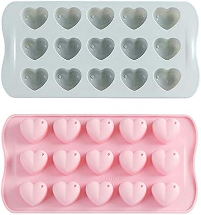Verdental Mini Heart Shape Gummy Molds Chocolate Candy Molds Silicone Cake Molds for Baking 55 Cavity Silicone Soap Molds Pink