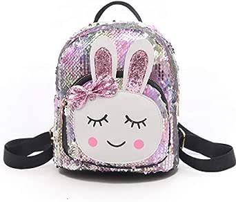 حقيبة ظهر نسائية أنيقة مزينة بالترتر أرنب حقيبة ظهر داخلية بفتحة جيب