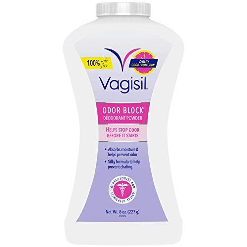 Vagisil Odor Block Feminine Deodorant Powder for Women, Talc-Free, Gynecologist Tested, 8 Ounce (Packaging May Vary)