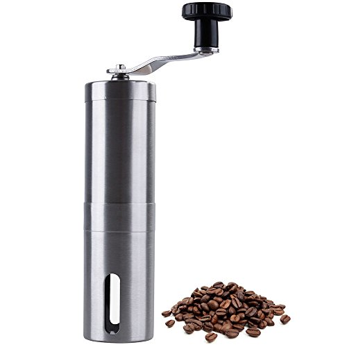 Lictin Manual Coffee Grinder Conical Burr Mill for Precision Brewing 304 Stainless Steel Manual Coffee Bean Mill with Adjustable Ceramic Burrs(Silver)