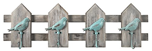 MCS Birds on a Fence Wall Hooks in Turquoise, 24 inches