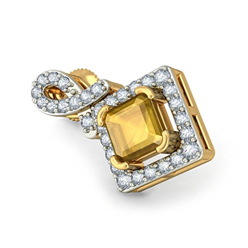 Or jaune 18 K 0,33 CT TW White-diamond (IJ | SI) et citrine Boucles d'oreille à tige