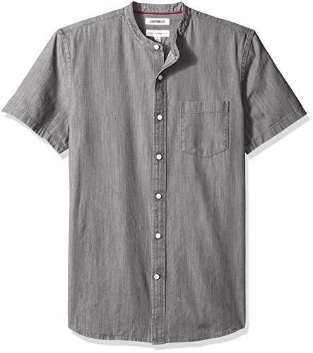 (Goodthreads Men's Standard-Fit Short-Sleeve Band-Collar Denim Shirt, -washed black, Medium)