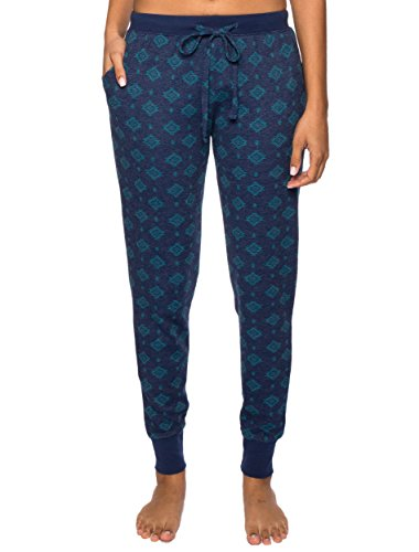 (Noble Mount Women's Waffle Knit Jogger Lounge Pants - Aztec Navy/Teal - X-Large)