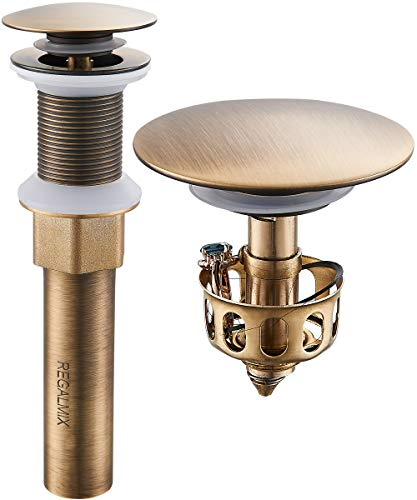 "REGALMIX Antique Brass Pop UP Drain, Bathroom Vessel Lavatory Vanity Faucet Sink Stopper, Built-In Anti-Clogging Strainer, Fits Standard American Drain Hole(1-1/2"" to 1-3/4""),without Overflow RWF082S"