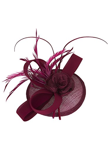 Vijiv Women Vintage Derby Fascinator Hat Pillbox Headband Feather Cocktail Tea Party, Red, One Size by Vijiv (Image #2)