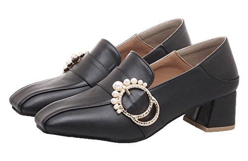 Tire Femme À Talon Légeres Aalardom Matière Carré Souple Noir Chaussures Correct wqSTWx0d