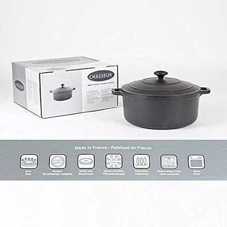 Chasseur Black Round Dutch Oven Dia 6 1//4 X H 3 1//8 1 3//4 Qts