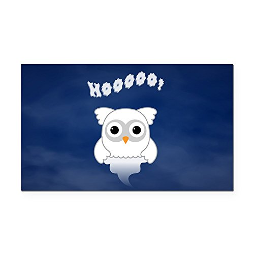 (Rectangle Car Magnet Spooky Little Ghost Owl in the Mist)