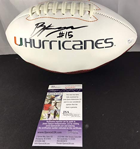 Brad Kaaya Autographed Signed Memorabilia Football Miami Hurricanes Canes White Panel - JSA Authentic