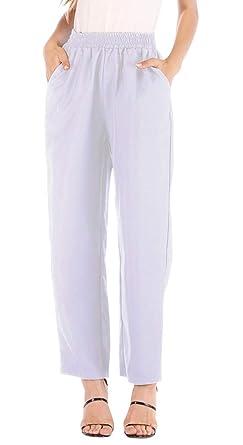 Pantalon Cigarette Femme Taille Haute Chic avec Poche sur Le Côté Mode  Decontracté Harem Hip Hop 15b1681e0e1