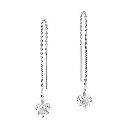 Adorable Tiny Sea Turtle Thread Slide-Through Sterling Silver Earrings