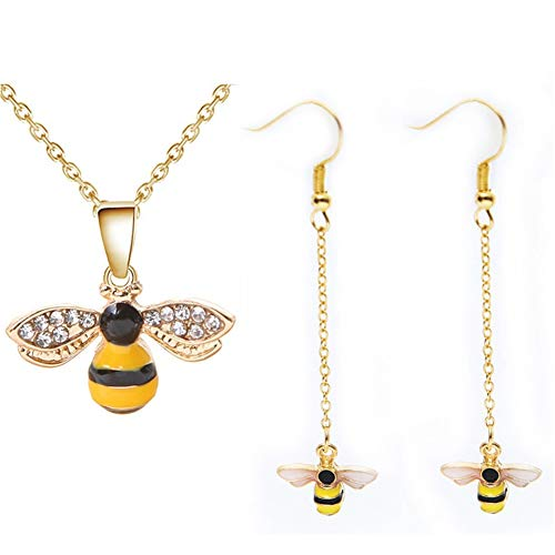 Tiny Cute Gold Bee Pendant Necklace and Earrings Jewelry Set, ALUOR Fashion Charm Crystal Rhinestone Enamel Honeybee Bumble Bee Pendant Jewelry Women Girl Gifts (Yellow) ()