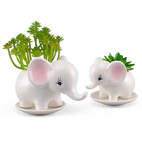 2PCS Elephant Flower Pots Ceramic Succulent Planter Plant Window Boxes with Tray for Indoor Outdoor Cactus Succulent Plant