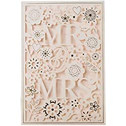 PONATIA 25 PCS MR & MRS Laser Cut Square Wedding Party Invitations Cards Set with Lace Flowers for Engagement Wedding Party (White)