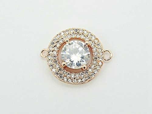 jennysun2010 Big Round Center Clear Zircon Gemstone Pave Rose Gold Bracelet Connector Charm Beads 10 pcs per Bag for Necklace Earrings Jewelry Making Crafts Design
