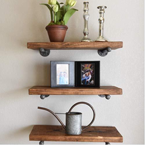Industrial Floating Shelves Wall Shelf - Floating Shelves Wood Wall Mounted, Hanging Shelves, Floating Shelves Rustic, with Pipe Hardware Brackets (Set of 3) 2'' X 7.5'' (Dark Walnut, 24'')