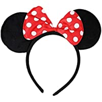 Partysanthe Minnie Mouse Ears Head Band Dotted Bow Headband Costume Accessory (Red)