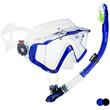 WACOOL Panoramic Wide View Snorkel Package Set for Adults, Anti-Fog Coated Glass Diving Scuba Mask, Full Dry Snorkel