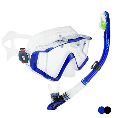 Clear Body Set (WACOOL Panoramic Wide View Snorkel Package Set for Adults, Anti-Fog Coated Glass Diving Scuba Mask, Full Dry Snorkel (Blue))