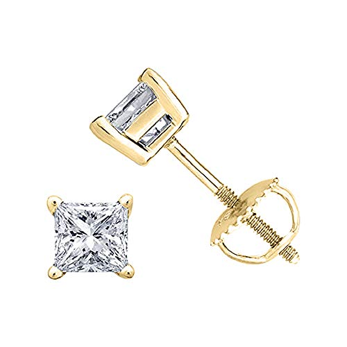 (Brilliant 4mm Princess Cut Black Diamond 14k Yellow Gold Over .925 Sterling Silver 4-Prong Engagement Stud Earring Screw Back Postss For Girl's & Women's)