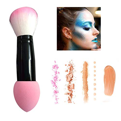 VEZARON 2019 Best Makeup Brushes Duo End Powder Foundation Buffer and Contour Synthetic Cosmetic Tools 1Pcs (pink)