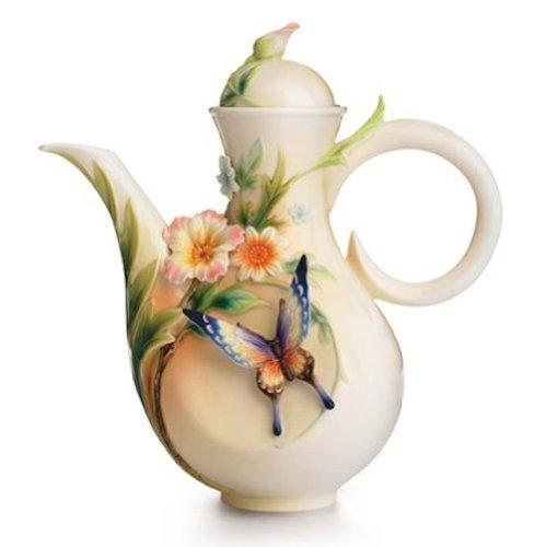 Franz Fluttering Beauty Flower and Butterfly Design Sculptured Porcelain Teapot
