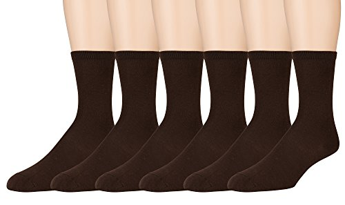 Sonoma Women's Dress Crew Socks – Solid and Patterned – 6 Pairs – Size 4-10 (Brown – 6 Pack)
