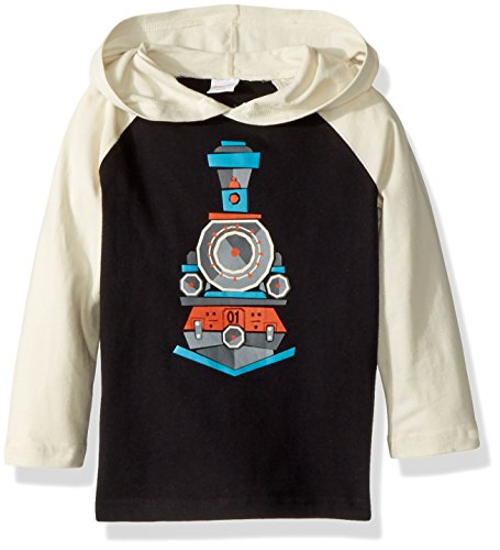 Gymboree Toddler Boys' Long Sleeve Tee Snuggle Hooded, Black Train, 5T