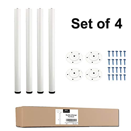 """(QLLY 28 Inches Height Tall Metal Desk Legs, Adjustable(+1"""") Office Table Furniture Leg Set, Set of 4 (White))"""