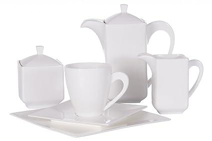 Servicio de café de porcelana cuadrado elegante 6 personas 23 piezas Porto Ambition Producto Nuevo.
