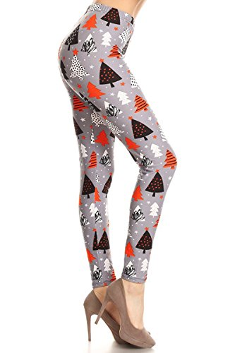 R860-OS Orange Christmas Printed Fashion Leggings, One Size