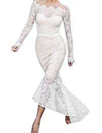 Women Off-Shoulder Lace Mermaid Long Sleeve Evening Party Dress