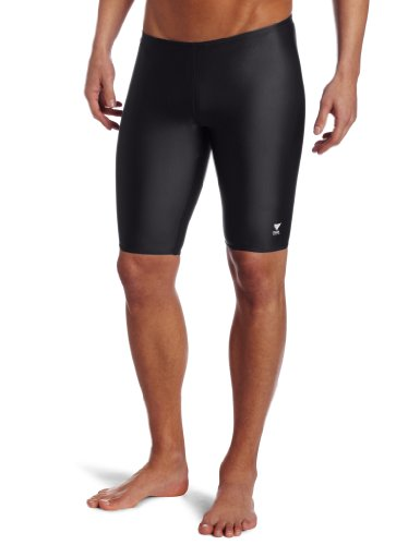 TYR Sport Men's Solid Jammer Swim Suit,Black,34 by TYR