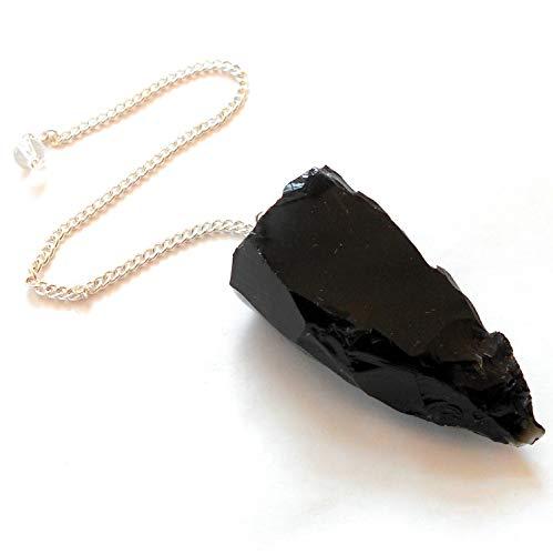 (earthegy Raw Black Obsidian Gemstone Pendulum)