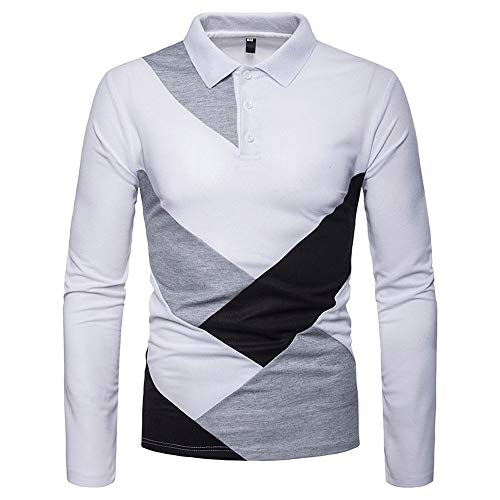 pretty nice 22799 4091d Long Sleeve Tops for Men, Mens Casual Autumn Winter Long Sleeve Irregular  Patchwork Henry Collar