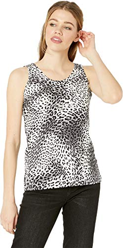 (bebe Womens Knot Back Tank Black/White/Leopard MD)