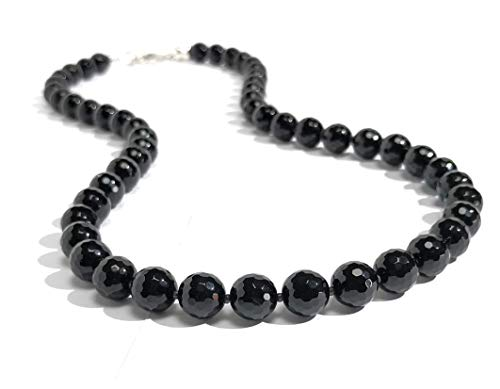 Men's Faceted Black Onyx Agate Necklace Custom Length (Black Faceted Necklace Onyx)