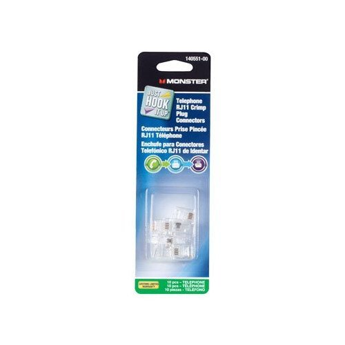 - Monster Cable Telephone Rj11 Modular Crimp Plug Connectors Modular 4 Conductor Carded 10 / Pack