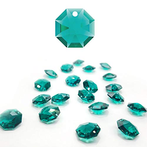 CrystalPlace 12 Pcs Swarovski Crystal, 14mm Emerald Crystal, One Hole Strass Octagon Lily, Ideal for Jewelry Making, Chandelier Parts, Arts ()