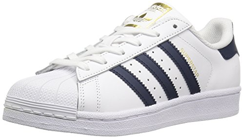 adidas Originals Boys' Superstar Foundation J Sneaker, White/Collegiate Navy/Metallic/Gold, 5.5 M US Big Kid