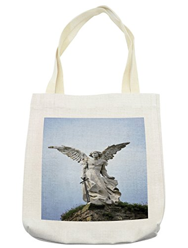 Lunarable Sculptures Tote Bag, Sculpture of Guardian Angel Figure in Cemetery of Comillas Spain Print, Cloth Linen Reusable Bag for Shopping Groceries Books Beach Travel & More, Cream by Lunarable