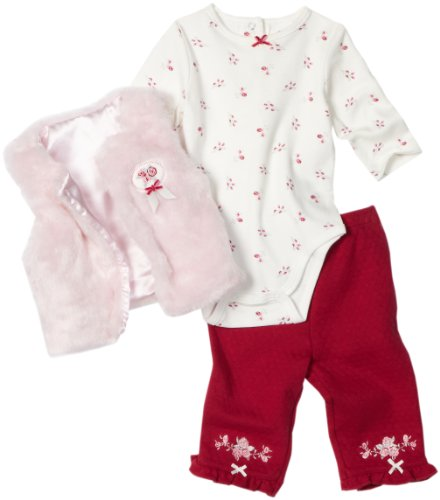 Little Me Baby-Girls Newborn Rose Plush Vest and Pant Set