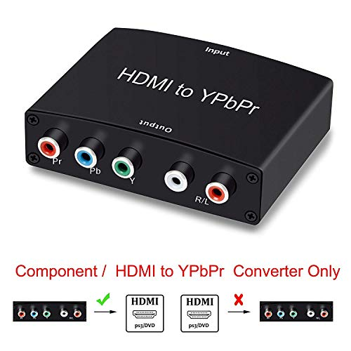 (HDMI to YPbPr Converter, AOKEN 1080P HDMI to Video Adapter HDMI to 5RCA RGB YPbPr Converter for PS3, PS4, Blu-ray Player, DVD, Xbox, Notebook, Black)