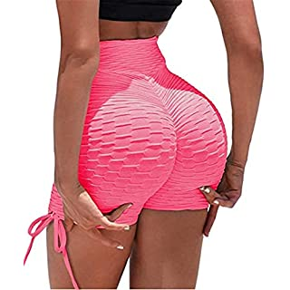 ED expres Womens Ruched Sports Short Booty Sexy Lingerie Gym Running Lounge Workout Yoga Short with Side Drawstring Pink, X-Large