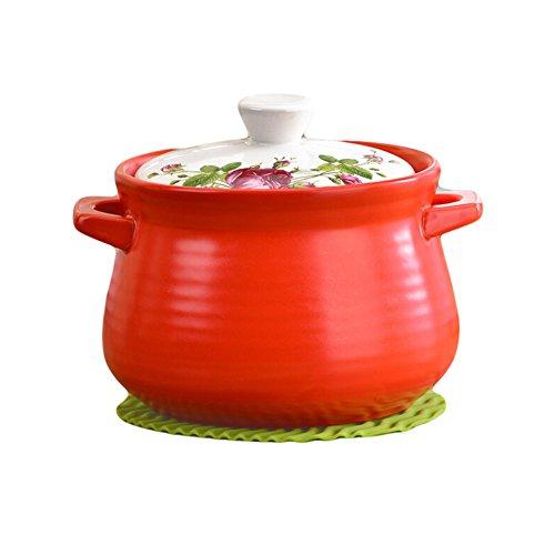 Qingsm High Temperature Resistance Ceramics Cute Crock Pot 3L (red)