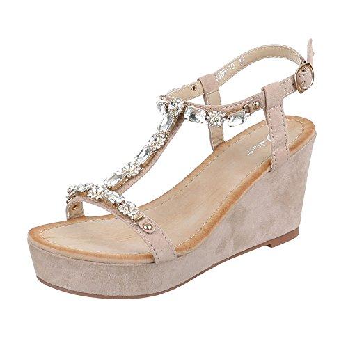Keilsandaletten Damen Schuhe Plateau Keilabsatz/ Wedge Keilabsatz Schnalle Ital-Design Sandalen / Sandaletten Beige, Gr 38, Hj88-10-