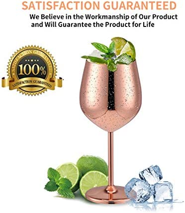 Velaze Juego Copas Vino Tinto de Cobre, 600 ml de Acero Inoxidable Irrompible, Inastillable para Vino Blanco y Espumoso, Lujoso de 2 Copas de Vino Cobre Martillado, por Amantes y Profesonales de Vino