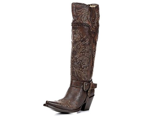CORRAL Women's Vintage Studded Harness Cowgirl Boot Snip Toe Brown 7 M (Studded Harness Cowgirl Boots)