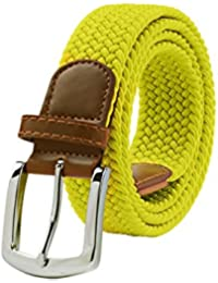 Braided Elastic Stretch Woven Belt with Leather Tip Nickle Pin 41in Buckle